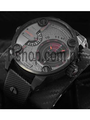 Diesel Little Daddy Radar GMT Grey Dial Black Leather Men's Watch Price in Pakistan