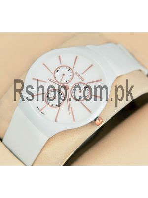 Rado True Thinline White Ceramic Case Rubber Strap Watch Price in Pakistan